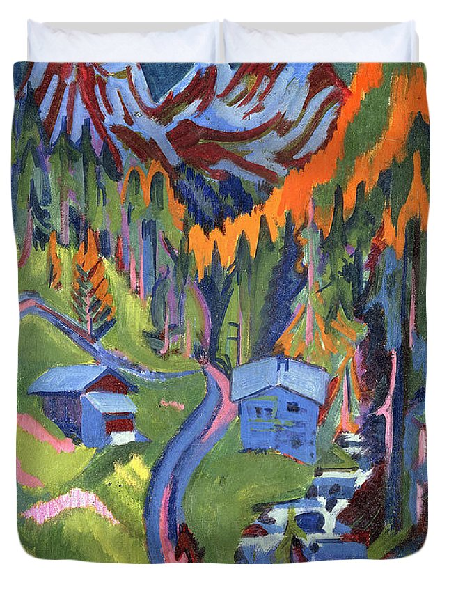 Kirchner Duvet Cover featuring the painting Sertig Path In Summer by Ernst Ludwig Kirchner