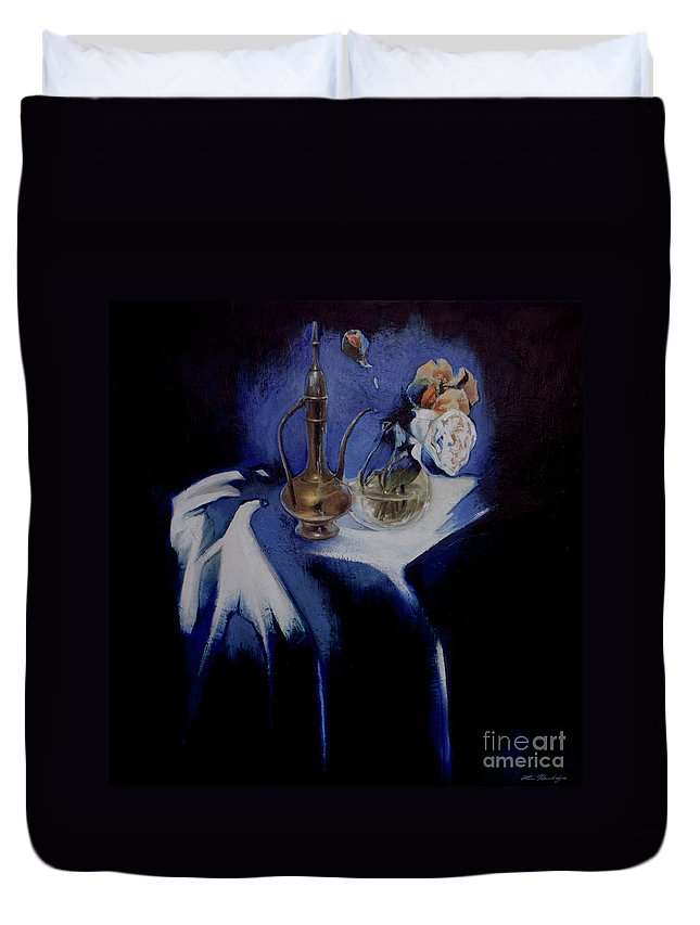 Lin Petershagen Duvet Cover featuring the painting Served by Lin Petershagen