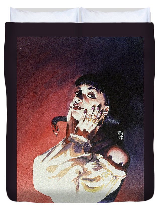 Women Duvet Cover featuring the painting Set by Ken Meyer jr