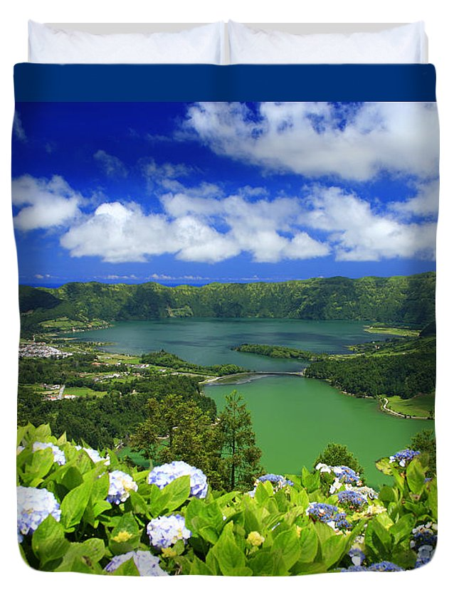Sete Cidades Duvet Cover featuring the photograph Sete Cidades Crater by Gaspar Avila