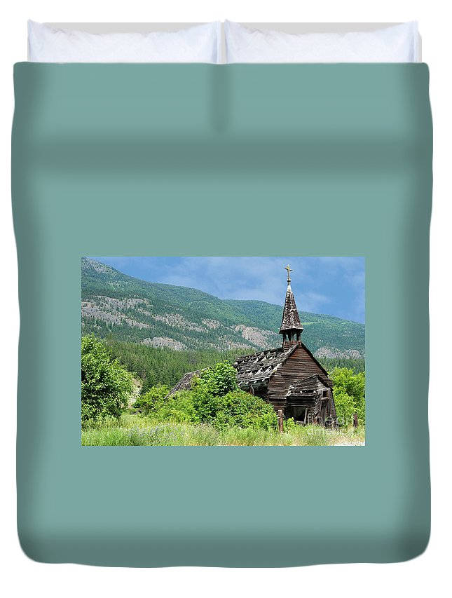 Beautiful Bc Duvet Cover featuring the photograph Seton Portage Church 2 by Rod Wiens