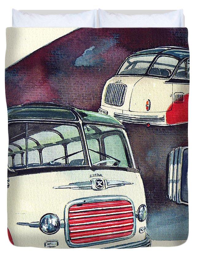 Setra Bus Kassbohrer S11 (1959) Duvet Cover featuring the painting Setra Bus Kassbohrer S11 by Yoshiharu Miyakawa