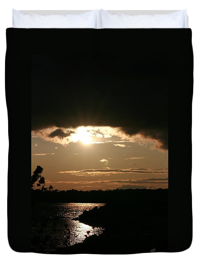 Sunset Lake Water Trees Rocks Shore Clouds Duvet Cover featuring the photograph Setting Sun by Andrea Lawrence
