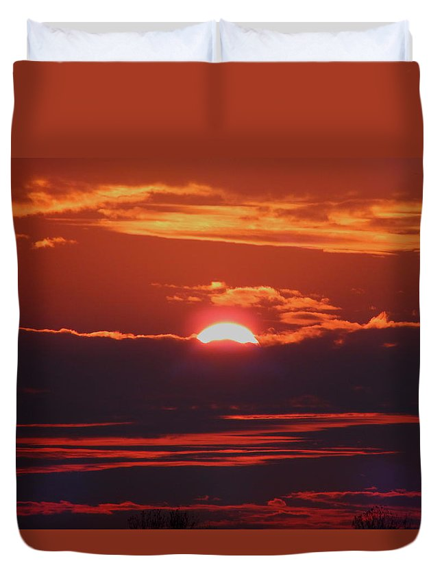 Sunset Duvet Cover featuring the photograph Setting Sun by Gina Welch