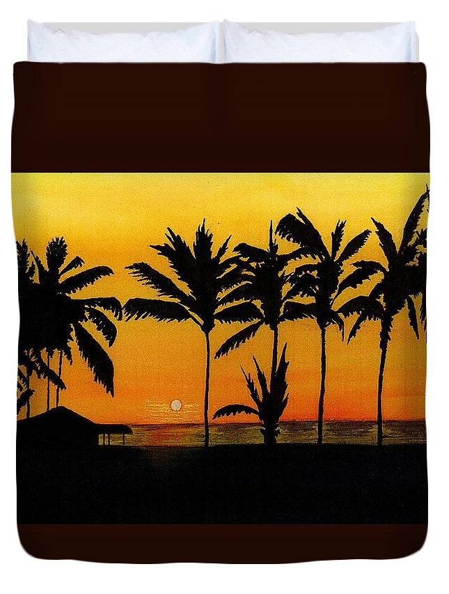 Sun Duvet Cover featuring the painting Setting Sun In The Tropics by Michael Vigliotti