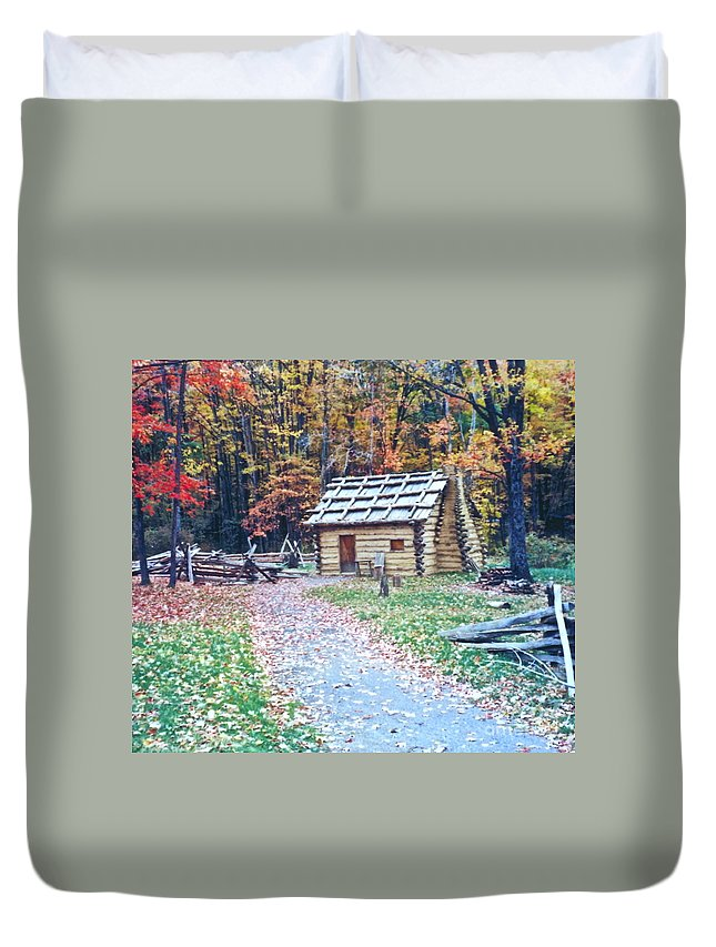 Log Cabin Duvet Cover featuring the photograph Settler by Penny Neimiller