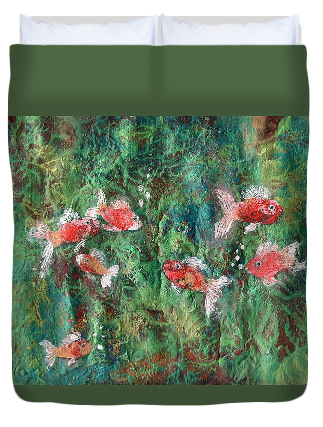 Acrylic Duvet Cover featuring the painting Seven Little Fishies by Maria Watt