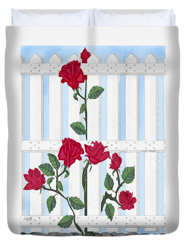 Roses Duvet Cover featuring the painting Seven Roses For Mary by Anne Norskog