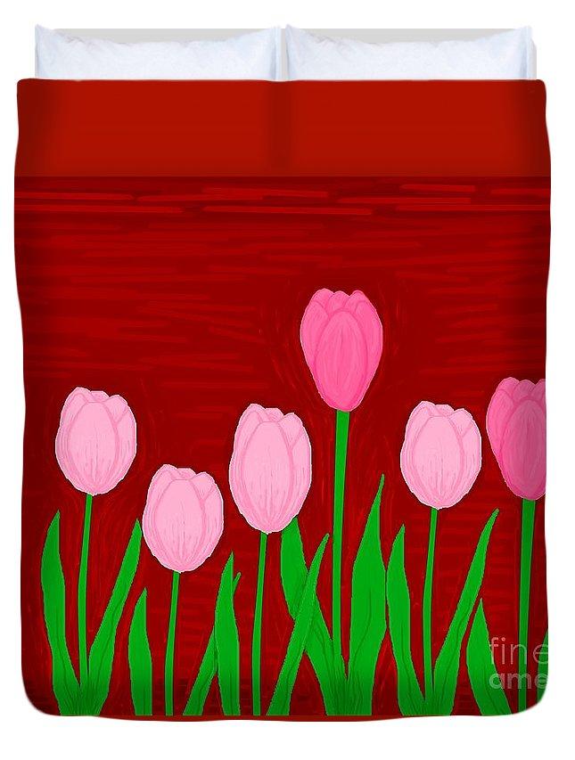 Tulips Duvet Cover featuring the digital art Seventulips by Mesa Teresita