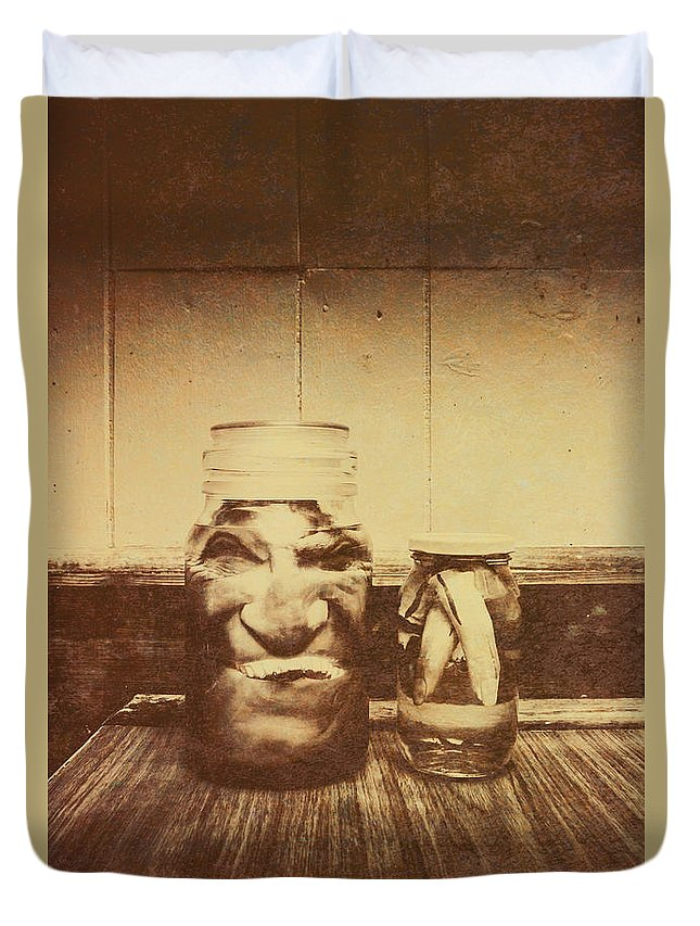 Monster Duvet Cover featuring the photograph Severed And Preserved Head And Hand In Jars by Jorgo Photography - Wall Art Gallery