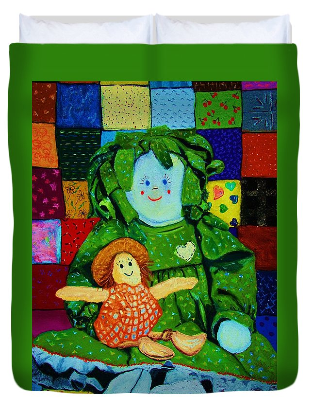 Dolls Duvet Cover featuring the print Sew Sweet by Melinda Etzold