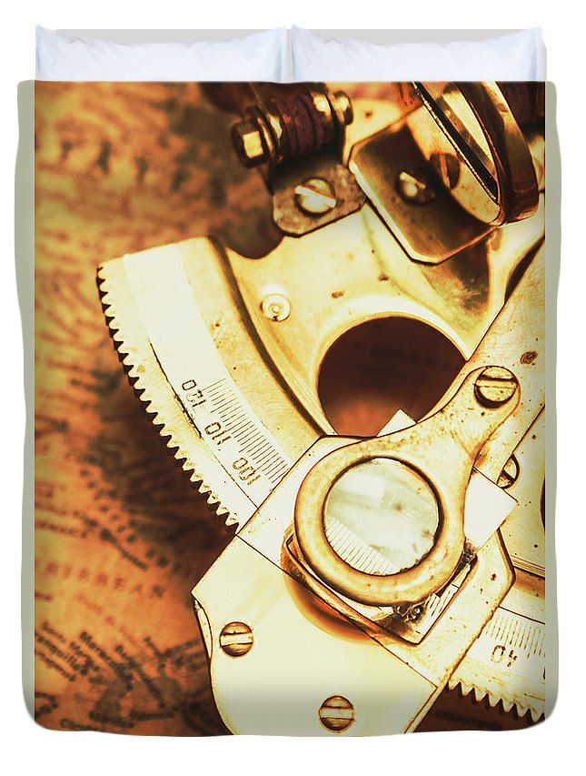 Navigation Duvet Cover featuring the photograph Sextant Sailing Navigation Tool by Jorgo Photography - Wall Art Gallery