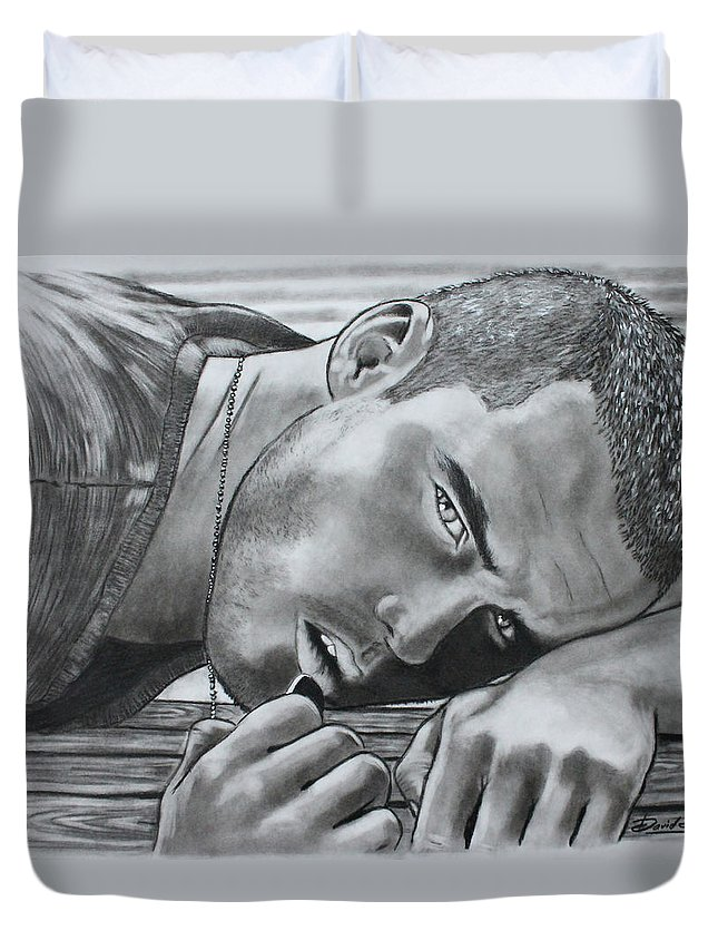 Sexy Man Duvet Cover featuring the drawing Sexy Eyes by David DaSilva