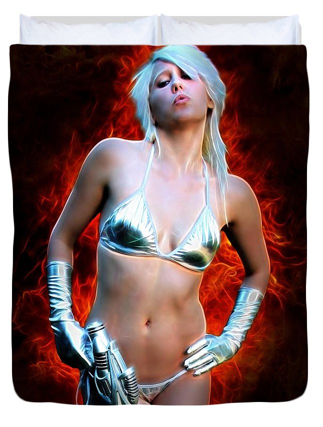 Fantasy Duvet Cover featuring the painting Sexy Space Vixen by Jon Volden