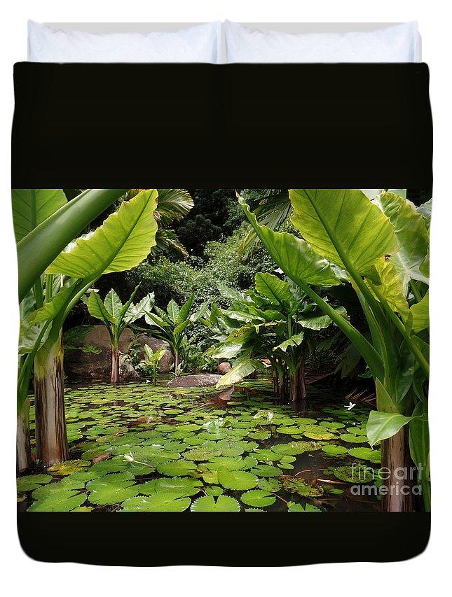 Seychelles Islands Duvet Cover featuring the photograph Seychelles Islands Pond by John Potts
