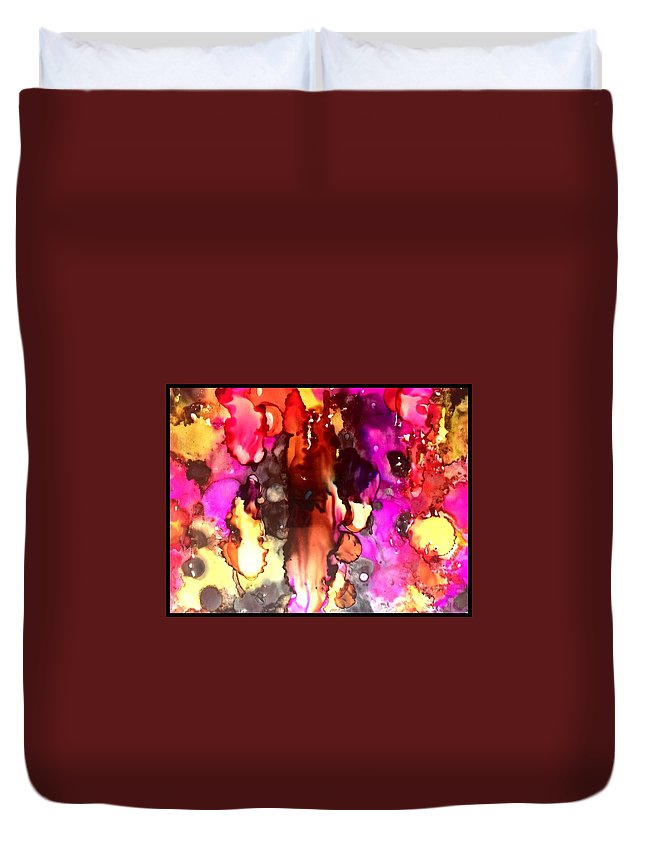 Alcohol Ink Duvet Cover featuring the glass art Sg No. 3 by Jennifer King