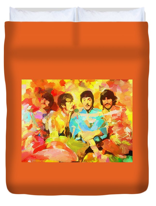 Sgt. Peppers Lonely Hearts Duvet Cover featuring the painting Sgt. Peppers Lonely Hearts by Dan Sproul