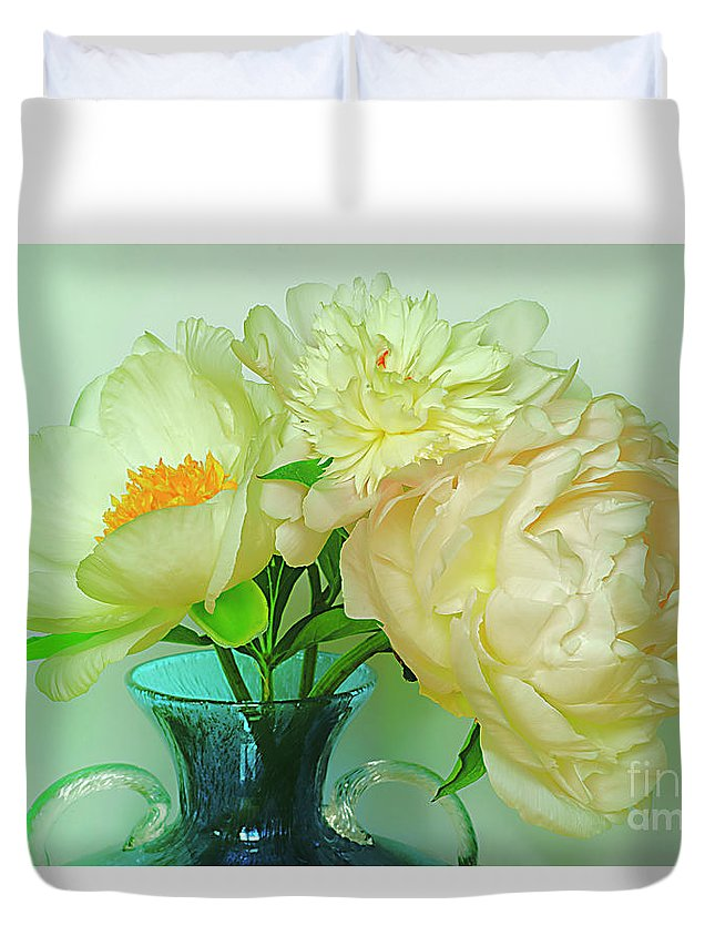 Shabby Duvet Cover featuring the photograph Beautiful Peony Flowers In Blue Vase. by Alexander Vinogradov