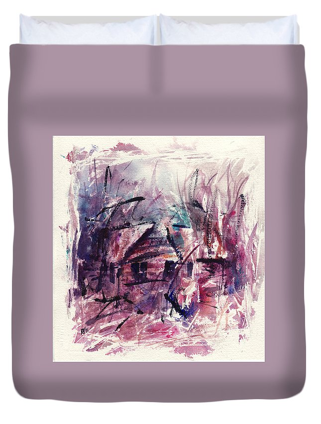 Shack Duvet Cover featuring the painting Shack First Movement by Rachel Christine Nowicki