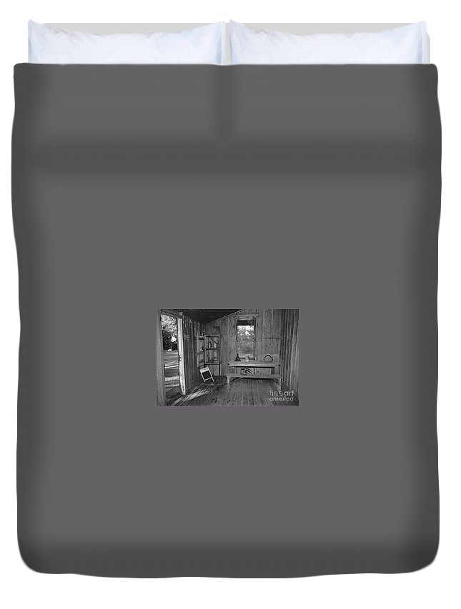 Black And White Duvet Cover featuring the photograph Shack House by Michelle Powell