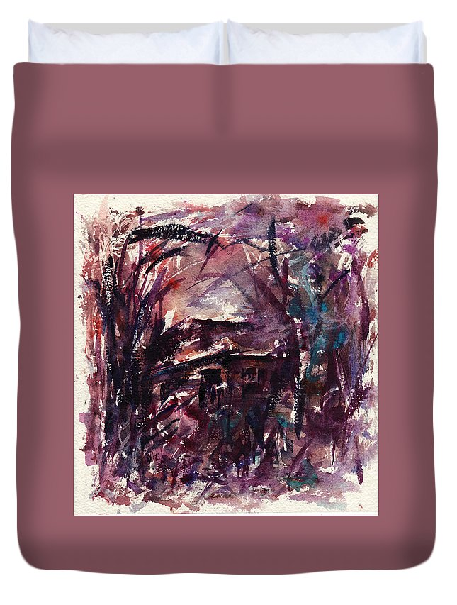Shack Duvet Cover featuring the painting Shack Second Movement by Rachel Christine Nowicki