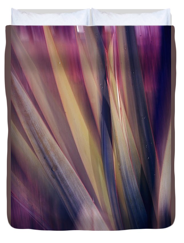 Plant Abstract Nature Blur Colors Pink Blue Yellow Geen Duvet Cover featuring the photograph Shade Of Color by Linda Sannuti