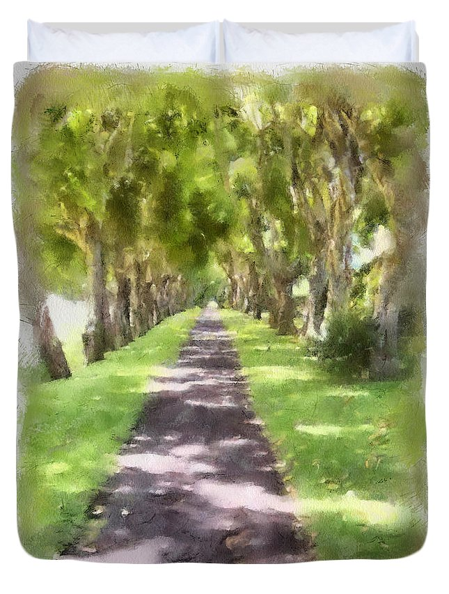 Kauai Duvet Cover featuring the painting Shaded Walkway To Princeville Market by Paulette B Wright
