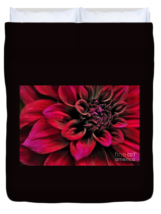 Photography Duvet Cover featuring the photograph Shades Of Red - Dahlia by Kaye Menner