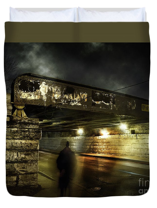 Shadow Duvet Cover featuring the photograph Shadow Man by Bruno Passigatti