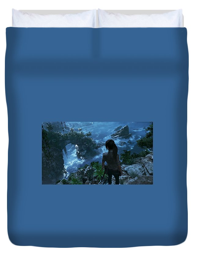 Shadow Of The Tomb Raider Duvet Cover featuring the digital art Shadow Of The Tomb Raider by Bert Mailer