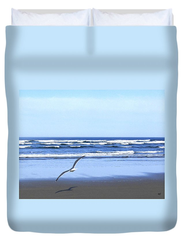 Seagull Duvet Cover featuring the photograph Shadow On The Sand by Will Borden