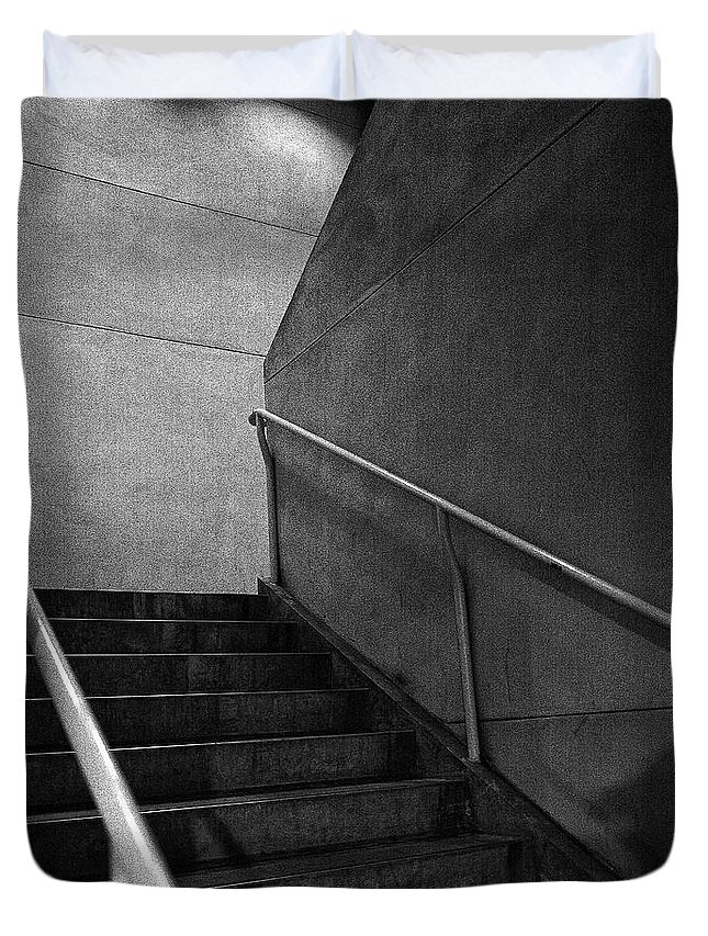 Abandoned Duvet Cover featuring the photograph Shadow On The Stairs Bw Parking Structure by YoPedro