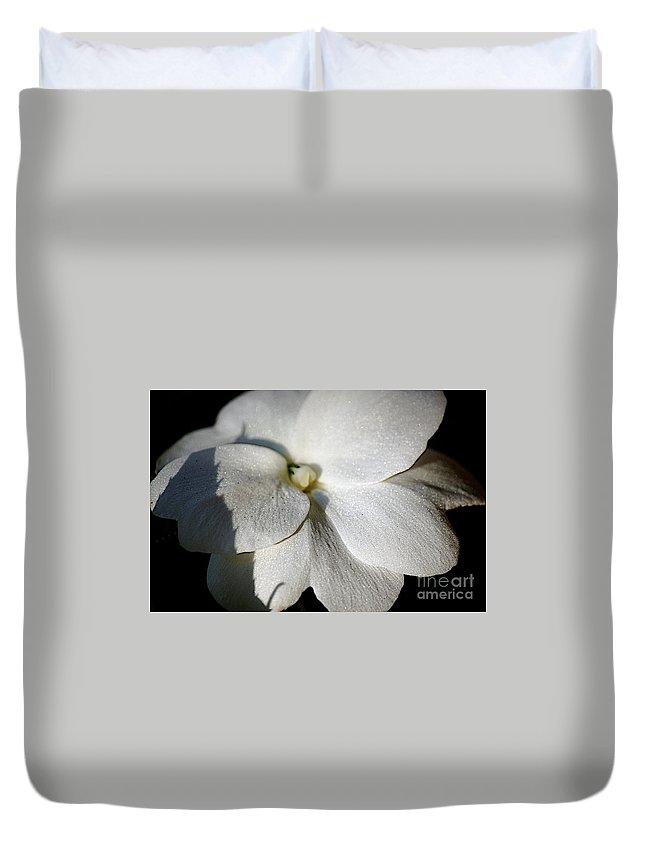 Impatiens Duvet Cover featuring the photograph Shadow On White by Faith Harron Boudreau