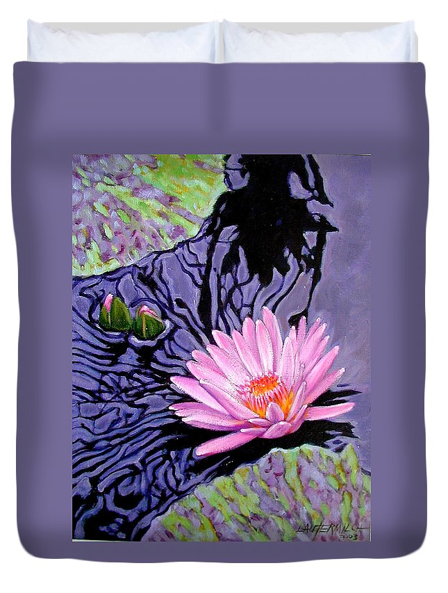 Water Lily Duvet Cover featuring the painting Shadow Reflections by John Lautermilch