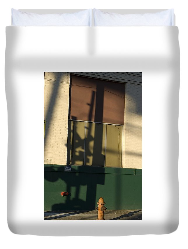 Railroad Crossing Sign Duvet Cover featuring the photograph Shadow by Sara Stevenson