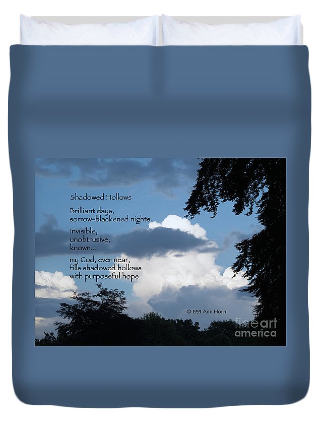 Tree Duvet Cover featuring the photograph Shadowed Hollows by Ann Horn