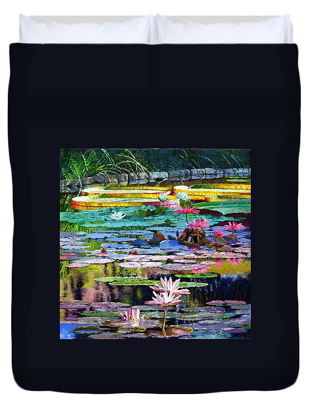 Water Lilies Duvet Cover featuring the painting Shadows And Sunlight by John Lautermilch