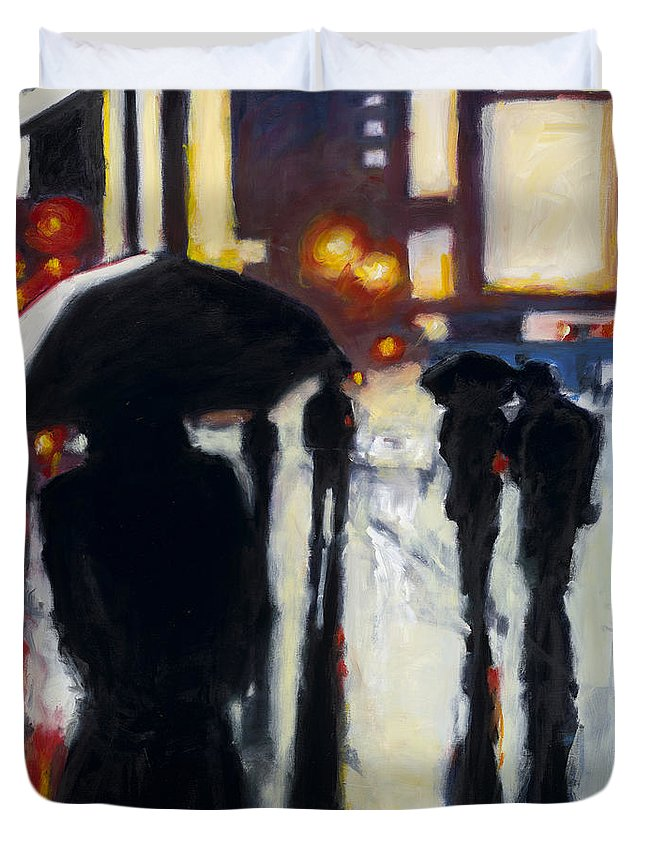 Rob Reeves Duvet Cover featuring the painting Shadows In The Rain by Robert Reeves