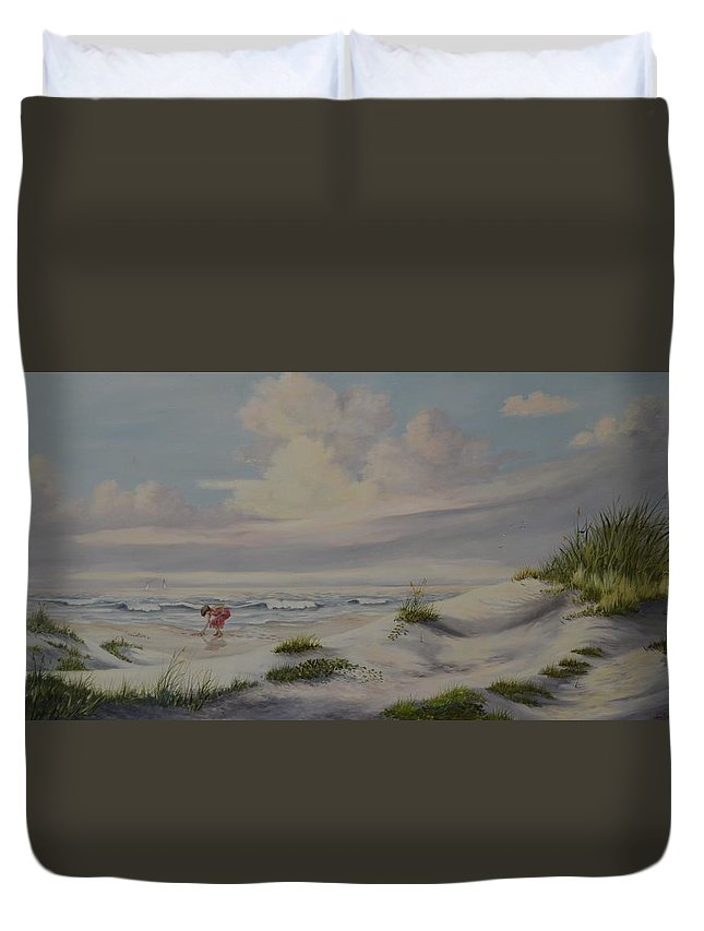 Landscape Duvet Cover featuring the painting Shadows in the Sand Dunes by Wanda Dansereau