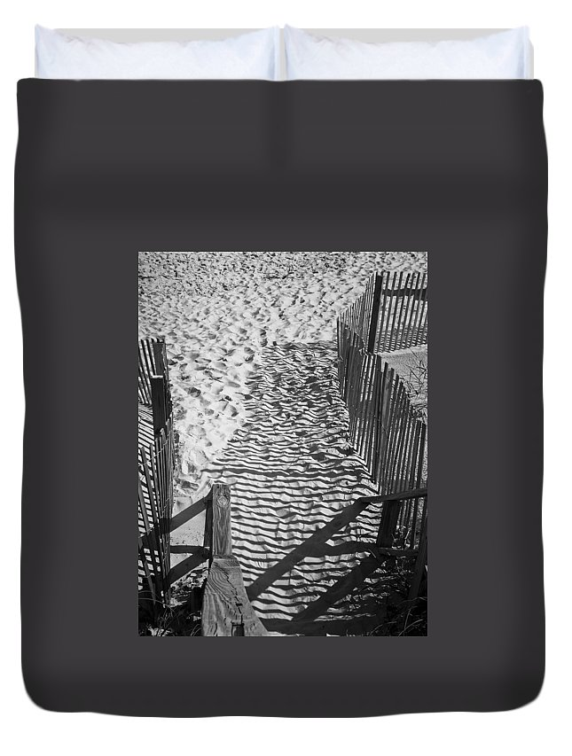 Shadow Duvet Cover featuring the photograph Shadows In The Sand by Teresa Mucha
