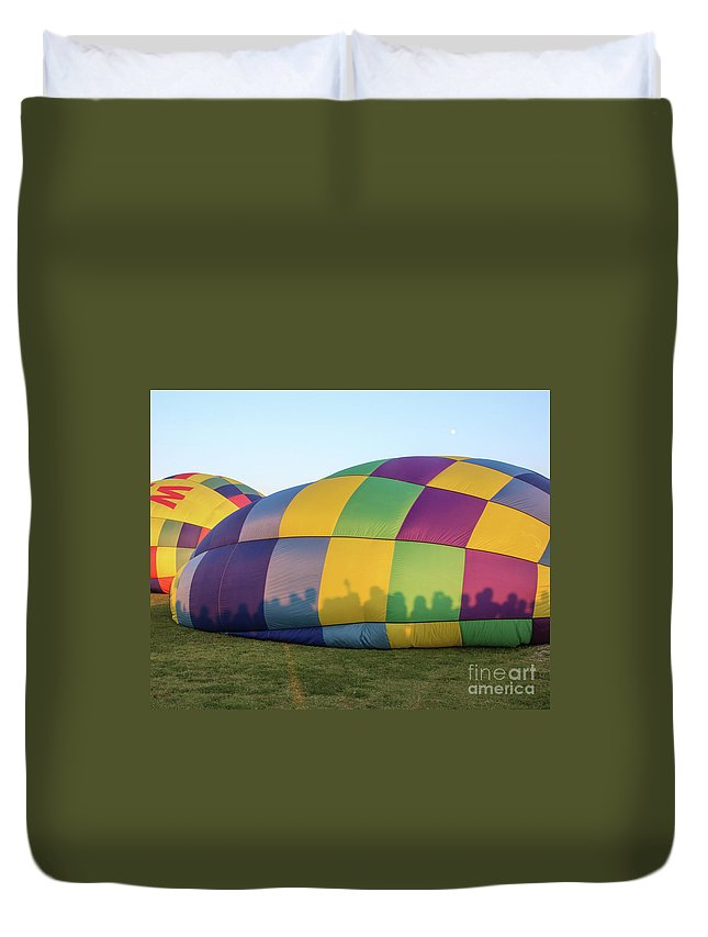 Hot Air Balloon Duvet Cover featuring the photograph Shadows On The Side by Laura Deerwester