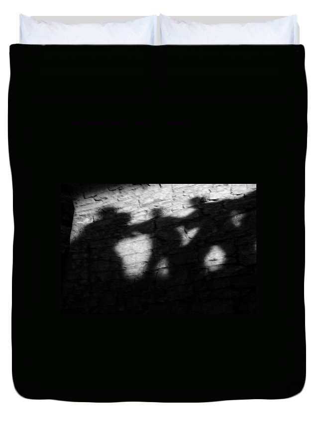 Wall Duvet Cover featuring the photograph Shadows on the Wall of Edinburgh Castle by Christine Till