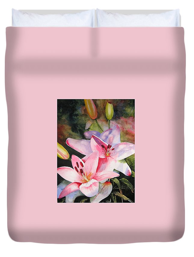 Lilies Duvet Cover featuring the painting Shady Ladies by Karen Stark