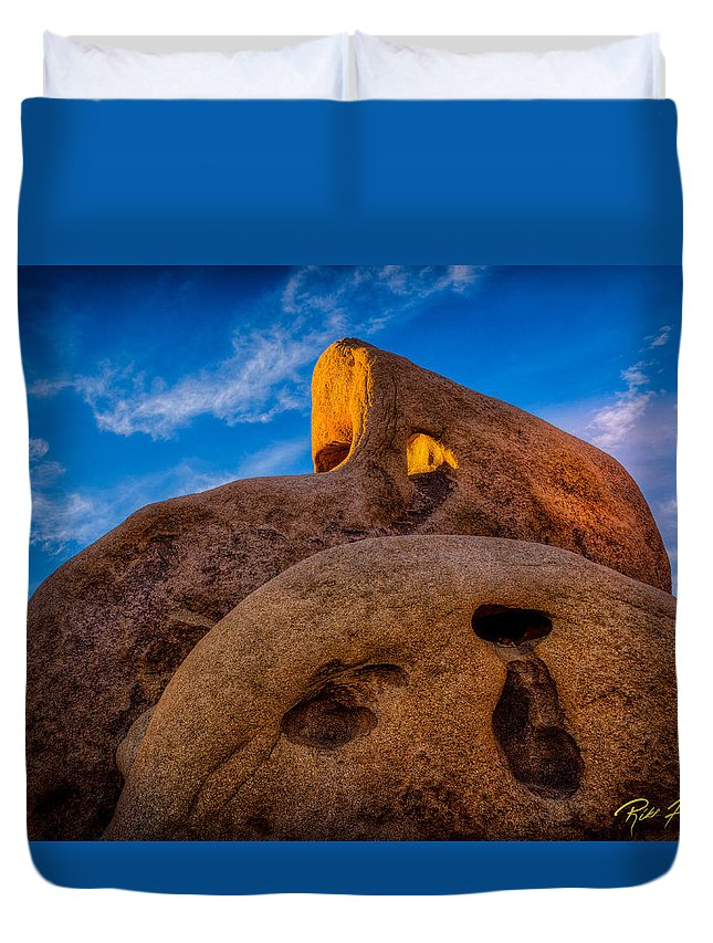 Cave Duvet Cover featuring the photograph Shaft Of Sun Through The Keyhole by Rikk Flohr