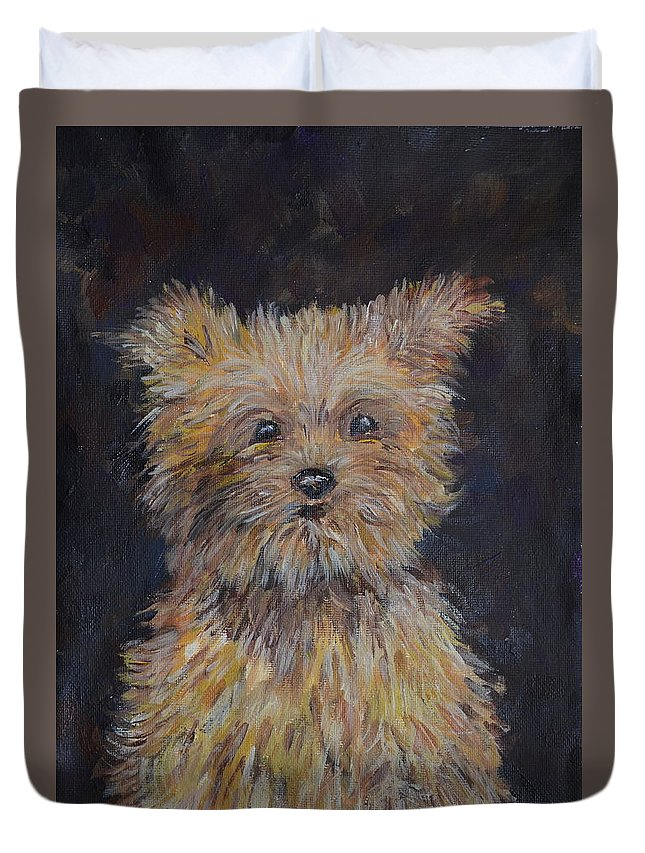 Yorkshire Terrier (yorkie) Duvet Cover featuring the painting Shaggy Friend by Maryna Borysova