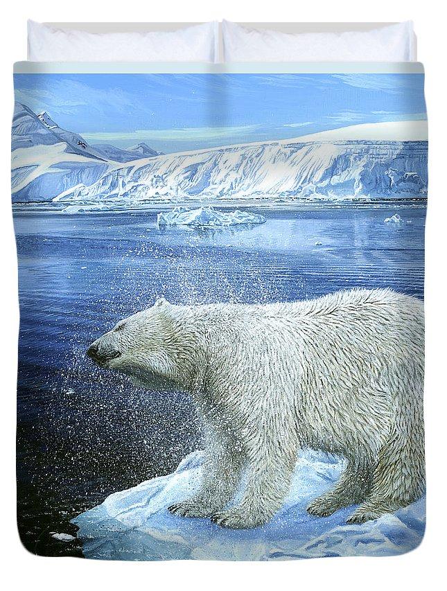 Polar Bear Duvet Cover featuring the painting Shake Shake Shake by Morgane Antoine