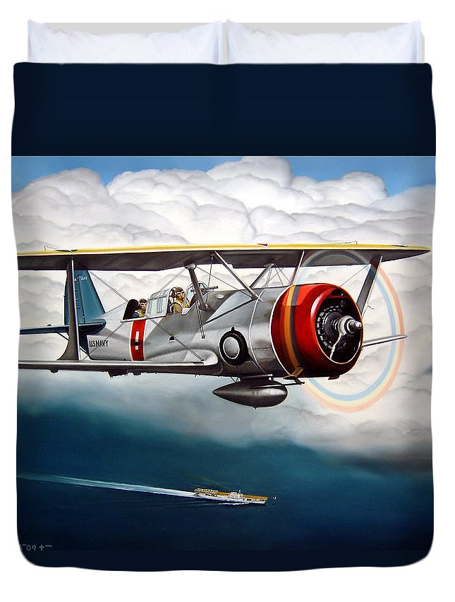 Aviation Duvet Cover featuring the painting Shakedown Cruise by Marc Stewart