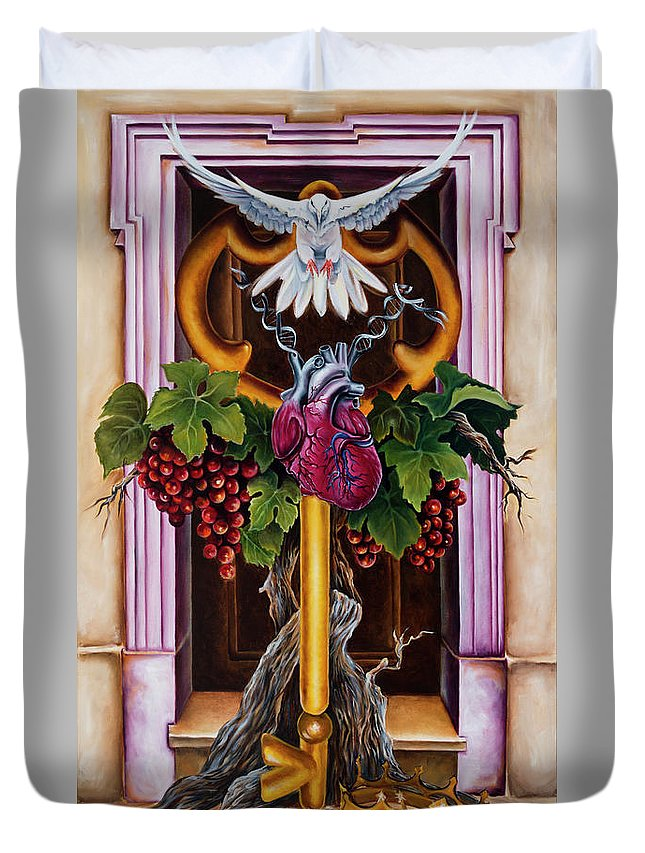 Dove Duvet Cover featuring the painting Shama by Ilse Kleyn