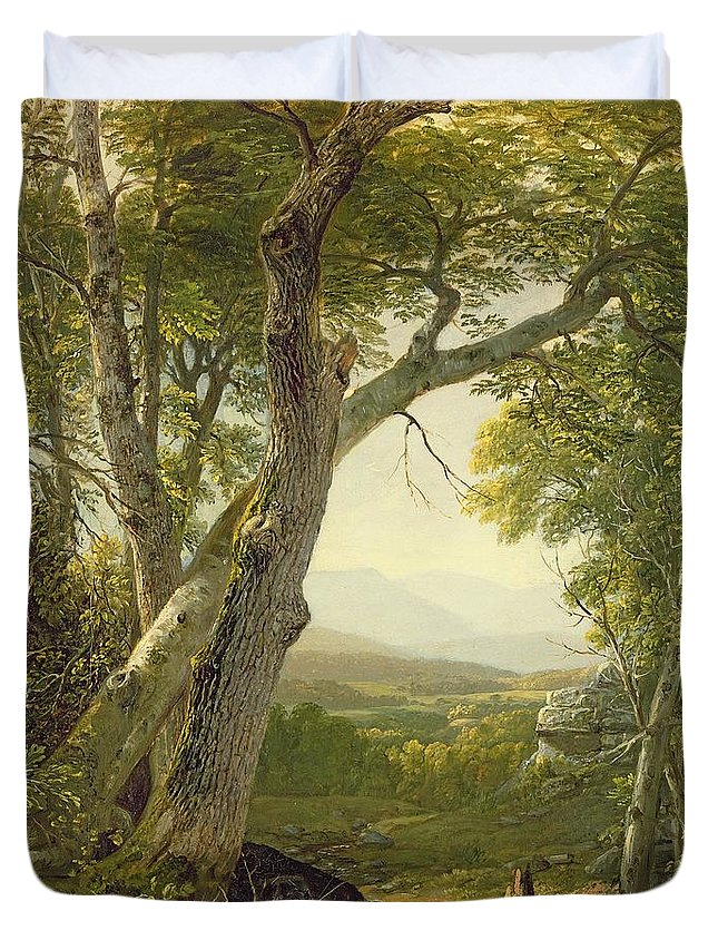 American Landscape; View; Romantic; Hudson River School; Mountains Duvet Cover featuring the painting Shandaken Ridge - Kingston by Asher Brown Durand