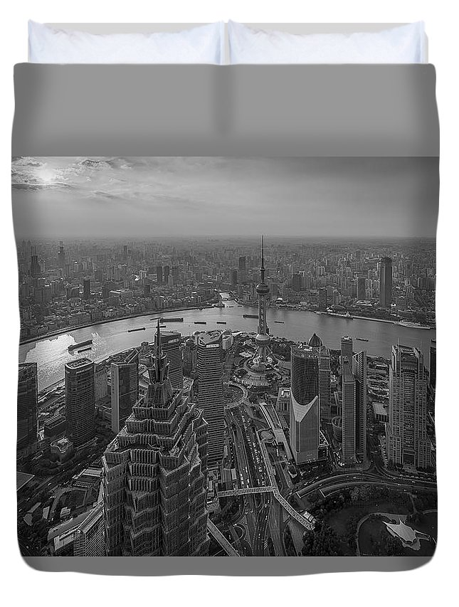 Shanghai Duvet Cover featuring the photograph Shanghai, China by Richard Vandewalle